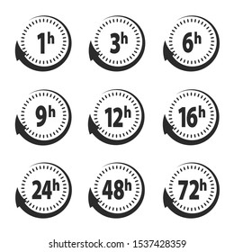 Set of delivery service time icons clock arrow 1, 3, 6, 9, 12, 16, 24, 48, 72 hours for design, stock vector illustration