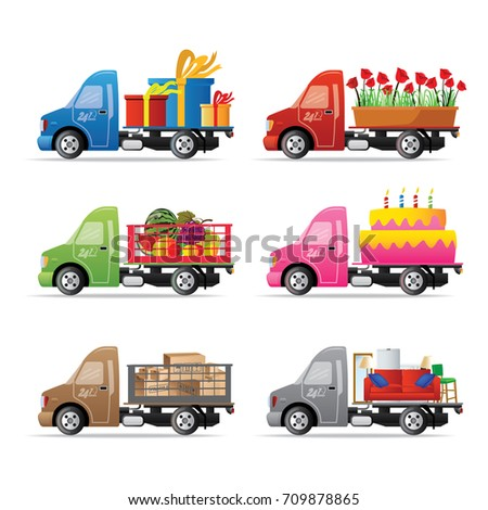 Set Of Delivery Service Truck With Gifts Flowers Fruits Birthday Cake Boxes