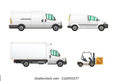 Set of delivery and transportation vehicles illustrations isolated on white background.