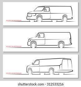 Set of delivery van or commercial vehicle silhouettes. Hand drawn car outlines / contours isolated on white background. Side view, front and rear 3/4 views. Vector illustration