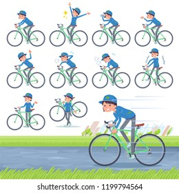 A set of delivery women on a road bike.There is an action that is enjoying.It's vector art so it's easy to edit.