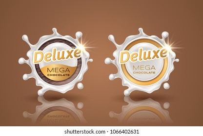 Set of deluxe design labels in gold color isolated on background. Swirl dynamic splash of milk. White chocolate circular border and drops. Packaging design element. Vector 3d illustration.