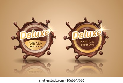 Set of deluxe design labels in gold color isolated on background. Swirl dynamic splash of dark chocolate. Chocolate circular border and drops. Packaging design element. Vector 3d illustration.