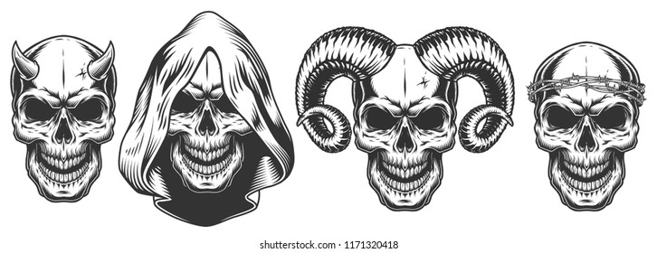 Set of demons skull with horns. Vector illustraiton