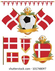 set of denmark football supporter flags and emblems, isolated on white