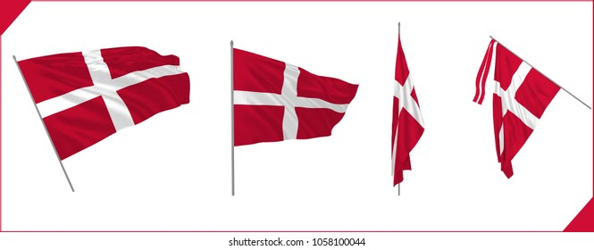 Set of Denmark state waving flags in solemn or proud style. Vector illustration.