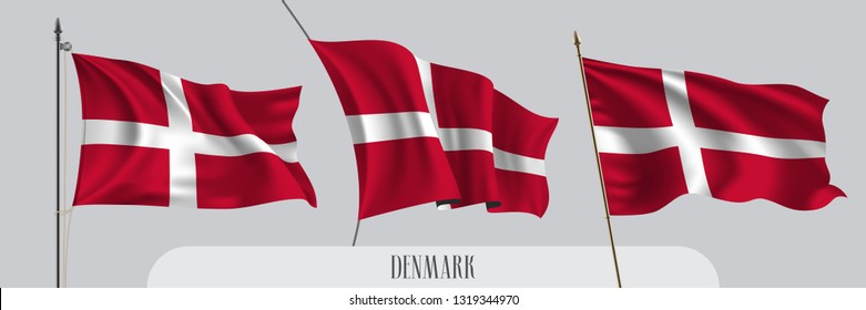 Set of Denmark waving flag on isolated background vector illustration. 3 red white Danish wavy realistic flag as a patriotic symbol
