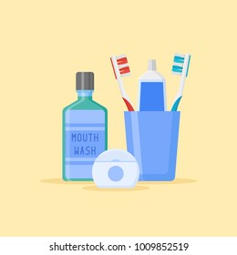 Set of dental cleaning tools. Toothbrushes and toothpaste in glass, mouthwash, dental floss isolated on yellow background. Flat style vector illustration.