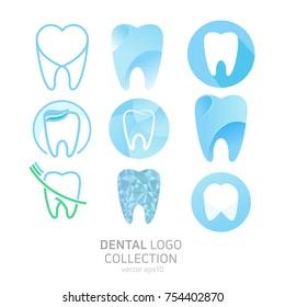 Set of Dental Clinic logo. Heals teeth icon. Dentist office. Vector flat illustraton
