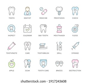 Set of Dental Clinic Vector Line Icons.