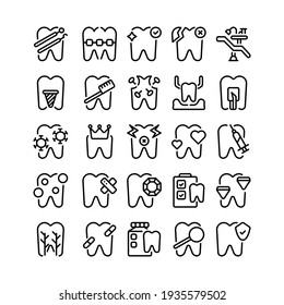 Set of dental dentist tooth outline style icon and illustration - vector