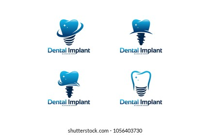 Set of Dental implant logo designs concept vector, Dental Care logo template
