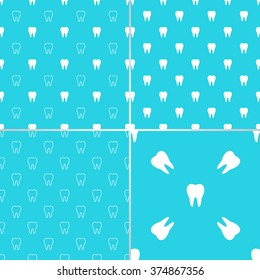 Set of dental seamless patterns with simple minimalistic white teeth on the light blue background.