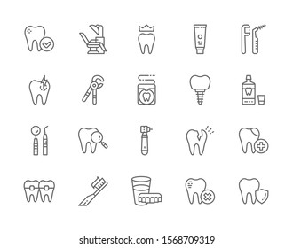 Set of Dentistry Line Icons. Denture, Dentist Chair, Dental Crown, Toothpaste, Tooth, Implant, Mouthwash, Tooth Instrument, Toothbrush and more.