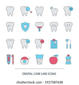Set of Dentistry Line Icons for website and mobile site and apps. Dental services.