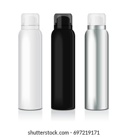 Set of deodorant spray for women or men. Vector mock up template of metal bottle with transparent cap for your design