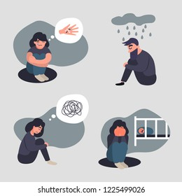 Set of depressed axiety people. Group of persons with psychology or psychiatric problem. Illness men in anxiety disorder. Suicide, postnatal depression and other mental disorder vector illustration