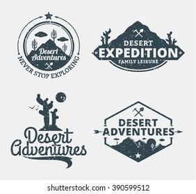 Set of desert adventures logo for tourism organizations, outdoor events and camping leisure.