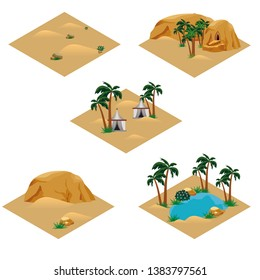 Set of desert landscape isometric tiles. Tile set for cartoon or game scene. Oasis in desert, nomad camp, sand dunes, palms, rocks. Isolated isometric tiles for game asset, vector illustration