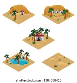 Set of desert landscape isometric tiles. Tile set for cartoon or game scene. Oasis in desert, Bedouins camp, sand dunes, palms, rocks. Isolated isometric tiles for game asset, vector illustration