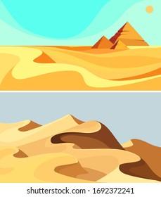 Set of desert landscapes. Sand dunes in cartoon style.
