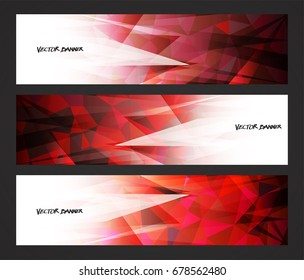 A set design of abstract modern vector bright horizontal web banner colorful with shiny polygonal background illustration