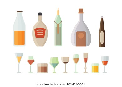 Set design alcohol bottles and glasses vector illustration