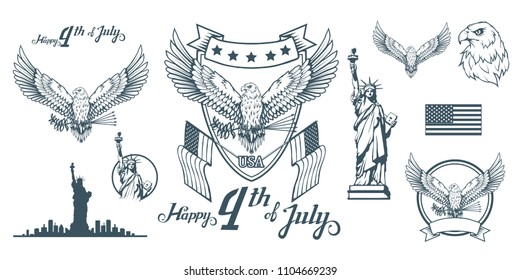Set for design of America's Independence Day. Traditional Symbols of America. Bald eagle logo. Happy Independence Day. American flag. Vector graphics to design.