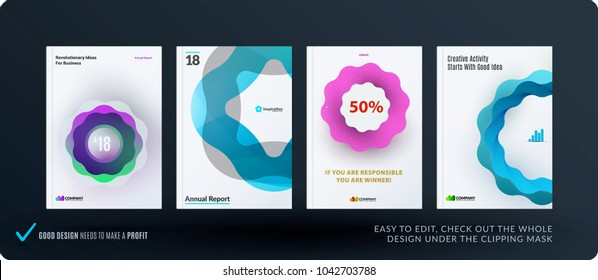 Set of design brochure, abstract annual report, horizontal cover layout, flyer in A4 with vector colourful wave
