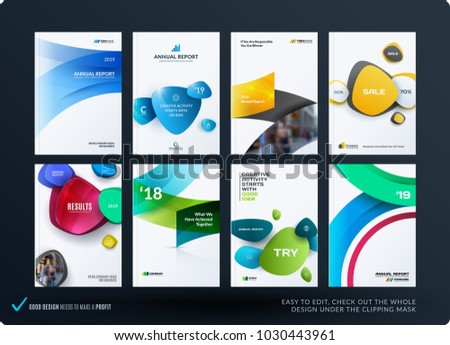 Set of design brochure, abstract annual report, horizontal cover