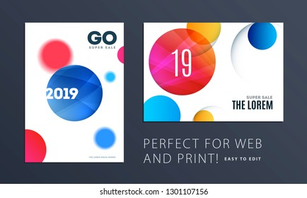 Set of Design of brochure smooth soft template. Creative abstract, annual report, horizontal cover, flyer in A4 with colourful round shapes for branding, exhibition. Business vector presentation.