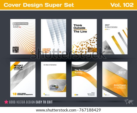 Set of design of business vector template, brochure, abstract annual report, cover