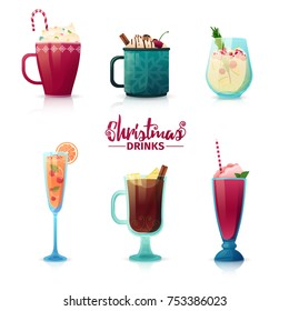 Set of design of Christmas drinks in cartoon style. Mulled wine, hot chocolate, milkshake for the New Year holiday. Design of cocktails for menu decoration. Vector.