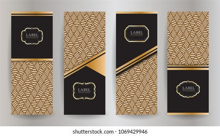 Set design collection of elements,labels,icon,frames, for packaging luxury products. Made with golden foil. Isolated on abtract background.