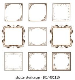 set for the design of decorative vintage frames and boards