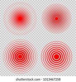 Set Design element many streak. Isolated bold vector red ring from thin to thick. Pain circle. Symbol throbbing pain. Vector illustration EPS 10 for your medical presentation. Transparent background