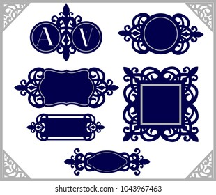 Set of design element. Vintage emblem. Decorative frame template. Wedding monogram laser cut. Silhouette cameo template. Navy blue logo. Decor for invitation card. Ornament tags. Emblems