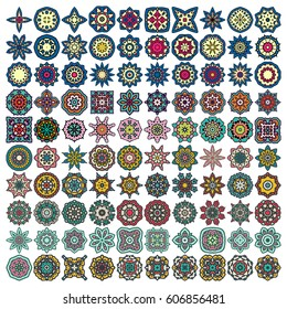 Set of Design Elements 100 Ethnic Round Symbols. Kaleidoscope, Yoga, India Symbols. Great for Antistress Coloring Book, Artmeditation. Vector Ethnic Oriental Circle Ornament For Your Design.