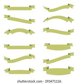 Set of design elements banners ribbons. Vector illustration.