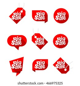 Set of design elements for big sale, red , vector, icon