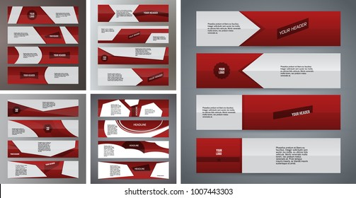 Set Design elements business presentation template. Vector illustration horizontal web banners background, backdrop abstract form broken line. EPS 10 for web buttons template, web site page heading