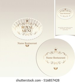 set of design elements for a cafe or restaurant with cover menu , stand for drinks and business card