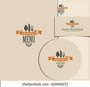 Set of design elements for a cafe or restaurant from the menu, business cards and coasters for drinks