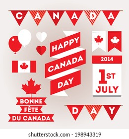 Set design elements for Canada Day first of July. Vector modern stylish illustration. Layered file