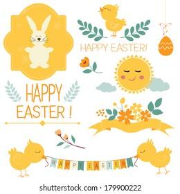 Set of design elements for Easter