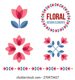 Set of design elements - flowers and floral ornamented borders  with Scandinavian minimal folk style. Perfect for invitation, greeting card, save the date, wedding design. Vector illustration.