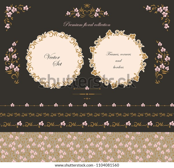 Set of design elements frames, borders and labels. Vector floral, ornate motifs and scrolls.