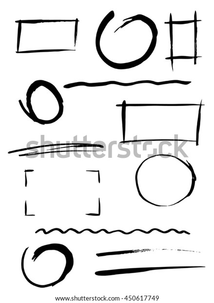 set of design elements, free hand drawn, brush strokes, lines.