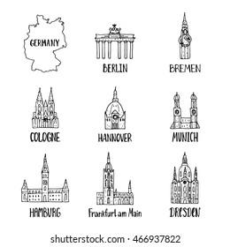 Set of design elements with handdrawn german symbols.Vector illustration.