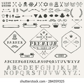 Set of design elements for info graphic and labels. Hand drawn vector illustration